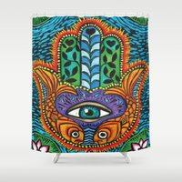 hamsa Shower Curtains featuring Hamsa  by Fortissimo6