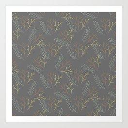 Autumn gray orange yellow green floral leaves Art Print
