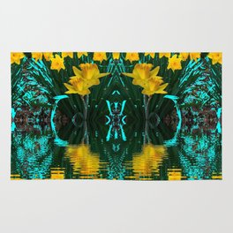 YELLOW DAFFODILS TURQUOISE PATTERNED GARDEN Rug
