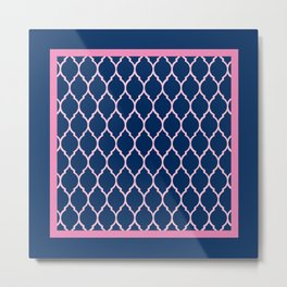 Blue and Pink Quatrefoil Palm Beach Preppy Metal Print
