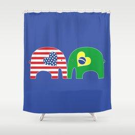 U.S.-Brazil Friendship Elephants Shower Curtain