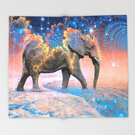 Elephant Drinking Soma Throw Blanket