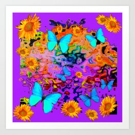 Decorative Purple Blue Butterflies Floral Dreams Art Print