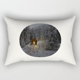 Mid Century Modern Round Circle Photo Secret Winter Cabin With Lights On Rectangular Pillow