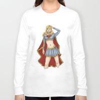 supergirl Long Sleeve T-shirts featuring Supergirl by kittencasanova