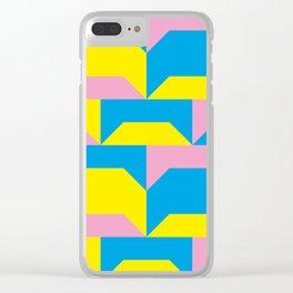 Trapezi e altre forme. Rosa, azzurro, giallo. Sembrano piccoli ponti per bambini, fatti in legno. Clear iPhone Case