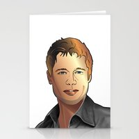 brad pitt Stationery Cards featuring Portrait of Brad Pitt by Christian Simonian
