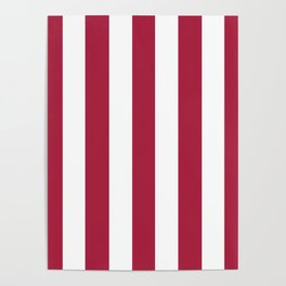 Deep carmine red - solid color - white vertical lines pattern Poster
