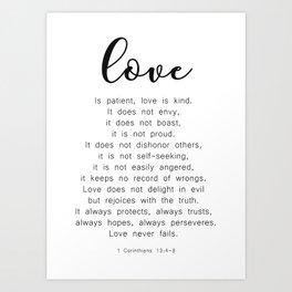 Love Never Fails #minimalism Art Print