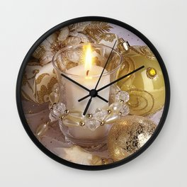 Golden christmas ball Wall Clock