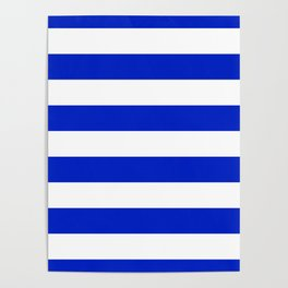 Cobalt Blue and White Wide Cabana Tent Stripe Poster