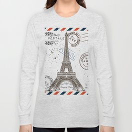 Art hand drawn design with Eifel tower. Old postcard style Long Sleeve T-shirt