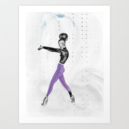 Model Pose in Purple Tights Art Print