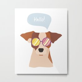 Hipsta Dog Metal Print