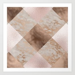 Copper and Blush Rose Gold Marble Gingham Art Print