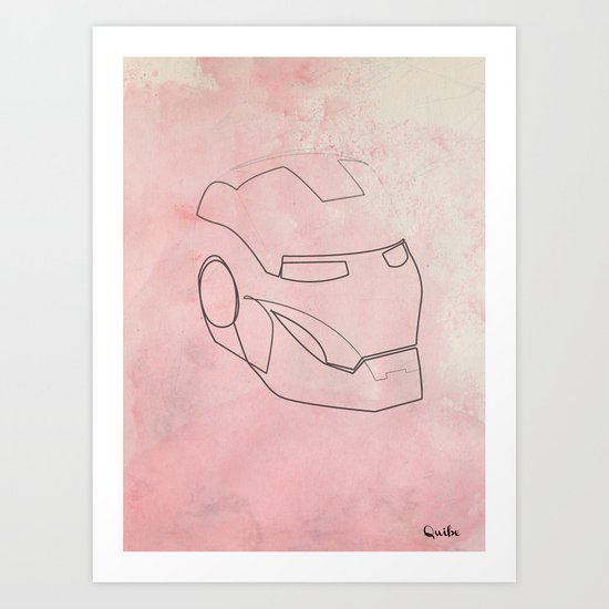 One line Iron Man Art Print