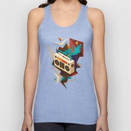 Bust Out The Jams Retro 80s Boombox Splash Unisex Tank Top