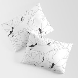 Black and white ink hand drawn  magnolia flowers pattern Pillow Sham