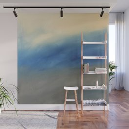Skyline Ocean Beach Summer Original Painting by Jodi Tomer Blue Gray Wall Mural