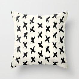 Black X on Ivory Throw Pillow