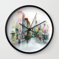 street Wall Clocks featuring street by tatiana-teni