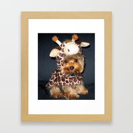 Yorkie   Puppy   Dogs   Sweet Giraffe Costume   Yorkshire Terrier Framed Art Print