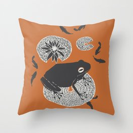 Frog on a Lily Pad Throw Pillow