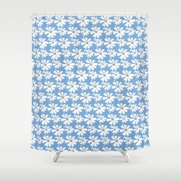Daisies In The Summer Breeze - Blue Grey White Shower Curtain