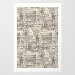 Edinburgh toile natural Art Print