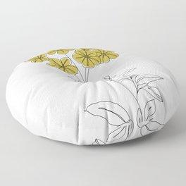 Botanical floral illustration line drawing - Iona Floor Pillow
