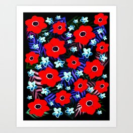 Poppies & Columbines Art Print