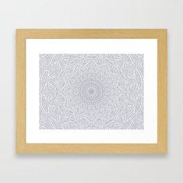 Most Detailed Mandala! Cool Gray White Color Intricate Detail Ethnic Mandalas Zentangle Maze Pattern Framed Art Print