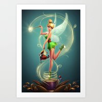 tinker bell Art Prints featuring Tinker Bell by Felipe Kimio