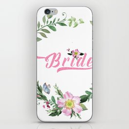 Dog rose wreath bride modern tTypography iPhone Skin