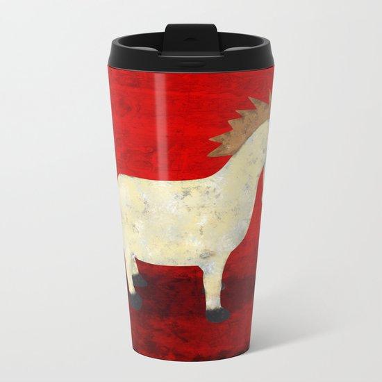 Vintage Pony Design Metal Travel Mug