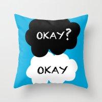 okay Throw Pillows featuring Okay by Hoeroine