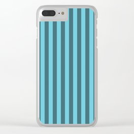 Cyan Blue Stripes Pattern Clear iPhone Case