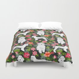 White Poodle floral hawaiian tropical dog breed dogs pet friendly pet art pattern Duvet Cover