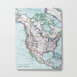 Colorful Vintage North America Map Metal Print