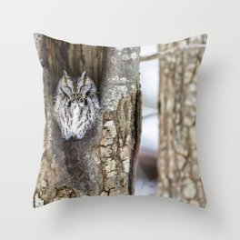 Sleeping Screech owl Throw Pillow