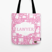 lawyer Tote Bags featuring Pink Lawyer by Be Raza