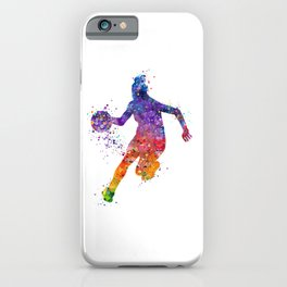 Girl Basketball Colorful Watercolor Sports Artwork iPhone Case