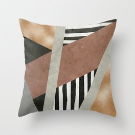 Abstract Geometric Composition in Copper, Brown, Black Throw Pillow