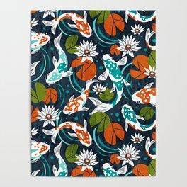Koi Pond - Orange Poster