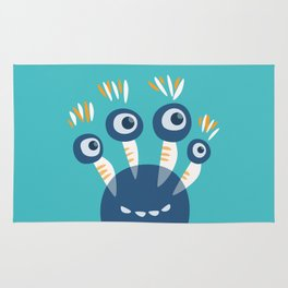 Cute Blue Four Eyed Monster Rug