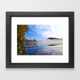 October Morning: Mergansers and Mist Framed Art Print