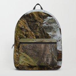 Moody Fog Coast Landscape Print, Ocean crashing on cliff edge & rocks from Ireland, UK | Modern & Calm Travel Photography, Wall Decor Backpack