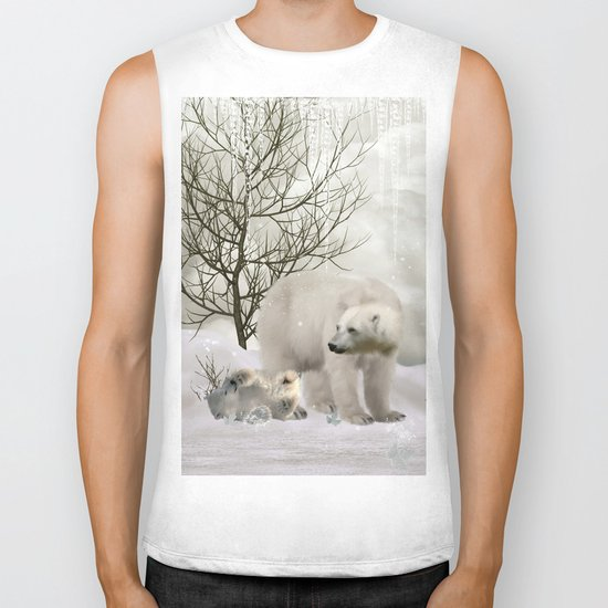 Awesome polar bear Biker Tank