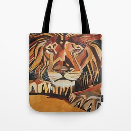 Lion Vector In Cubist Style Tote Bag