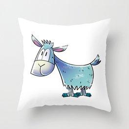Goat Blue Throw Pillow